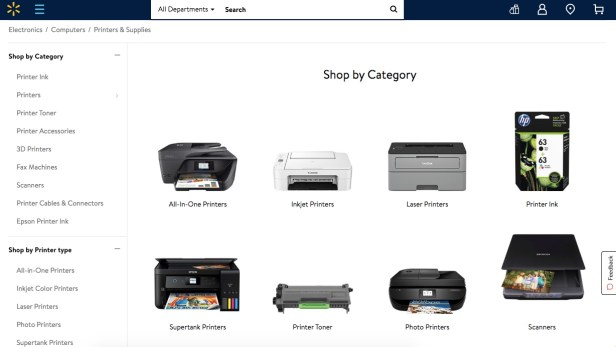 Webpage displaying Walmart printers