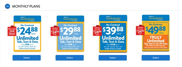Walmart Family Mobile Monthly Plans