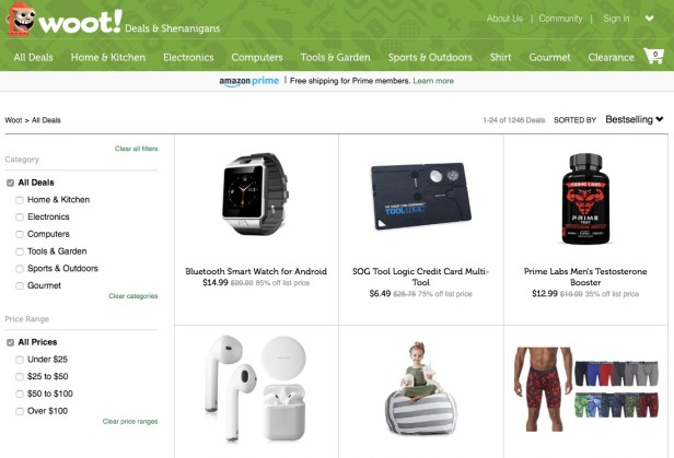 Webpage displaying wireless security systems available at Woot