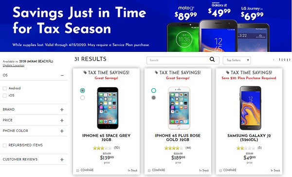 Tracfone phone selection