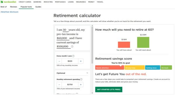 Nerdwallet Retirement Calculator