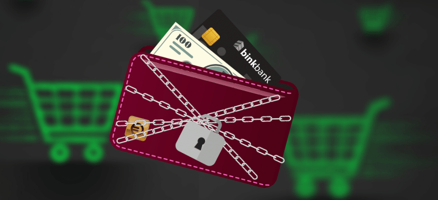 A locked wallet to represent not spending money