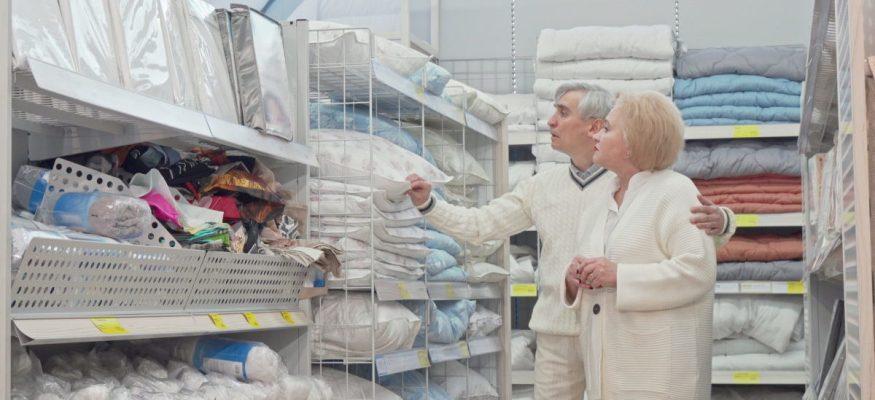 Seniors shopping at a retail store