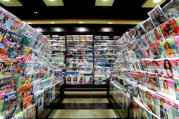 Magazines on shelves in a bookstore