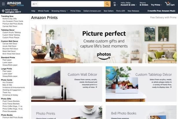 Amazon Prints Website