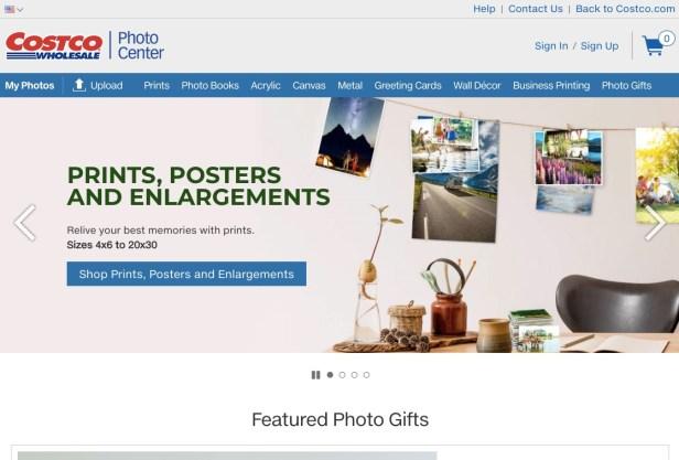 Costco Photo Center webpage