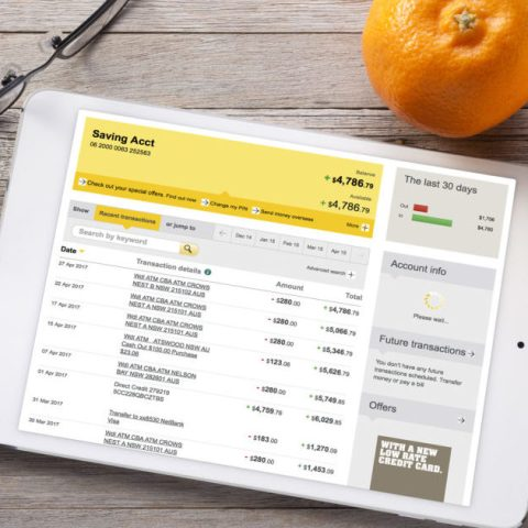 Bank account shown on a tablet screen. Checking vs. savings account