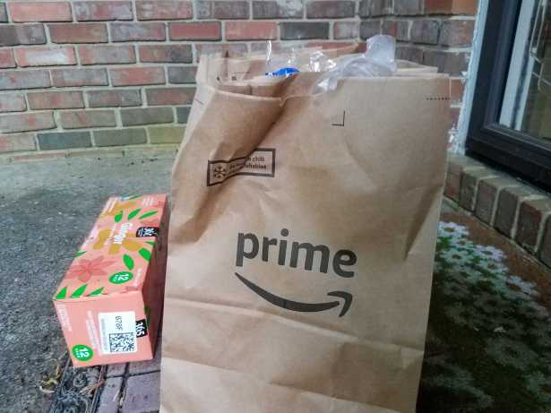 Amazon Fresh groceries on a doorstep.