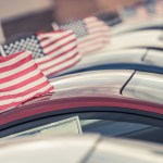 Cars with American flags