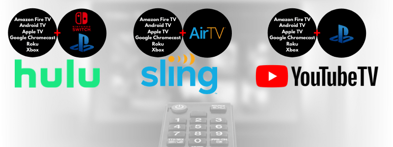 Streaming devices like Amazon Fire TV, Android TV, Apple TV, Google Chromecast, Nintendo Switch, PlayStation, Roku Xbox and AirTV are all supported by one more live TV streaming service like Hulu+Live TV, Sling TV and/or YouTube TV