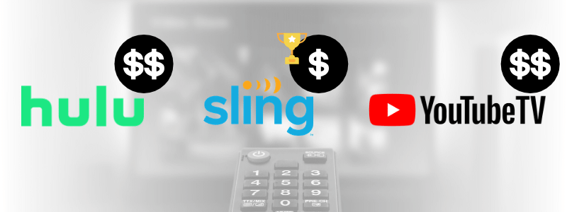Simple price comparison between Hulu+Live TV, Sling & YouTube TV shows that the best streaming service for the price is Sling TV because it's the cheapest live TV streaming service
