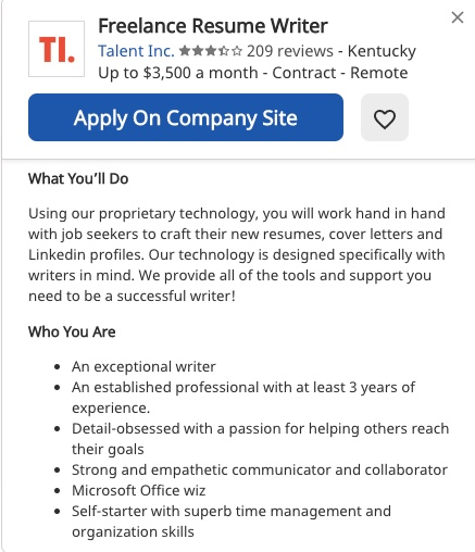 Job description on Indeed