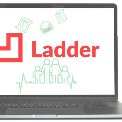 Ladder life insurance logo on laptop computer