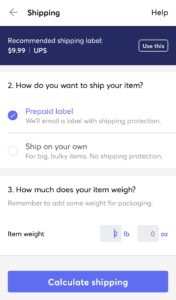 Shipping label options to choose from on Mercari.