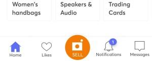 Orange sell button at the bottom of the page in the Mercari app.