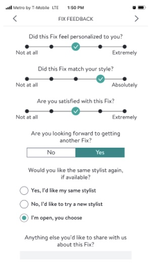 Stitch Fix feedback form asking about personalization, style, satisfaction, the next order and additional comments