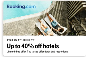 Booking.com 40% off deal on T-Mobile Tuesdays