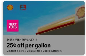 T-Mobile Tuesdays offers 25 cents per gallon at Shell deal