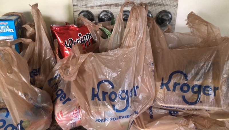Grocery bags and products delivered from Kroger Grocery Delivery