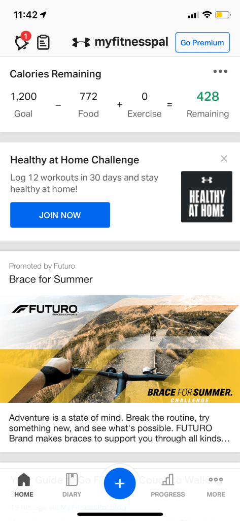 MyFitnessPal homepage with daily calorie tracker