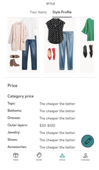 Stitch Fix app showing the style profile category pricing range for tops, bottoms, dresses, outer layers, jewelry, shoes and accessories.