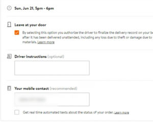 Details and delivery instructions during Walmart grocery delivery checkout.