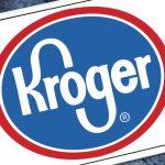 Kroger logo displayed on a digital screen to represent ordering groceries online