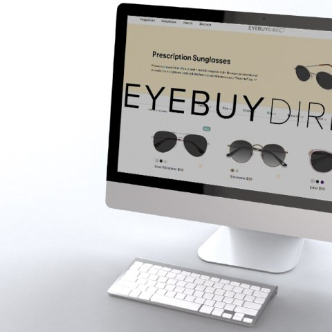 A person ordering glasses online from EyeBuyDirect