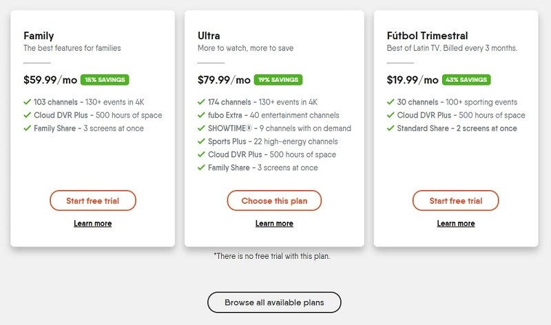 fuboTV's website displays plans, but viewing the cheapest plan requires an additional click.