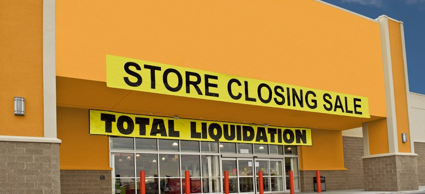 Exterior of store that is closing down and going out of business
