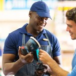 Worker helping customer in home improvement store