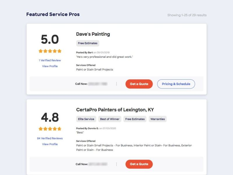 HomeAdvisor's LiveDirectory results featuring two local professionals and their overall ratings based on verified customer feedback