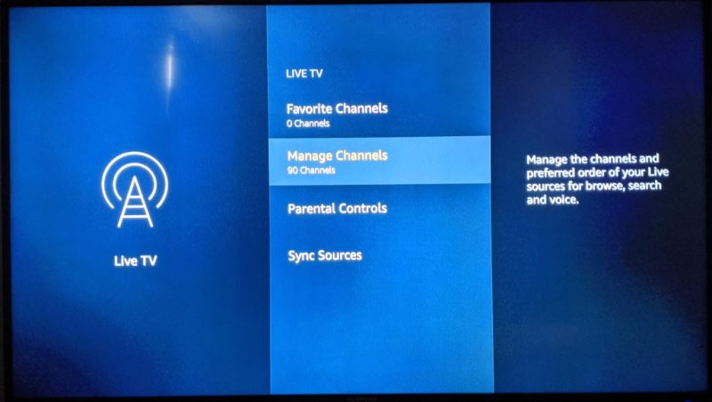 Amazon Fire TV's live function has menu options like parental controls and channel syncing.