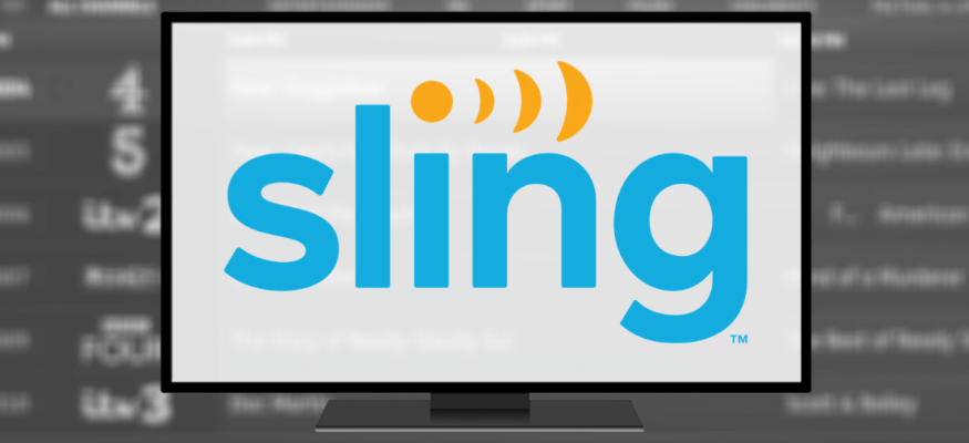 TV displaying Sling TV logo in front of a channel guide offering options to upgrade Sling TV and still pay less than YouTube TV