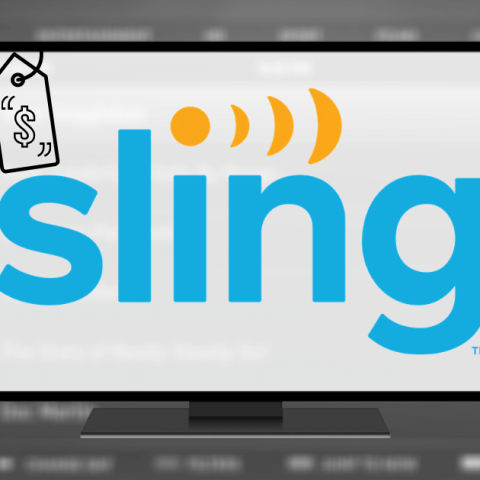 Sling TV logo over streaming service channel guide explaining the new price guarantee announcement