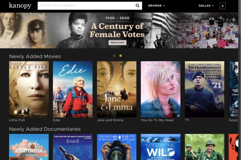 Kanopy home screen featuring popular free online movies from your library