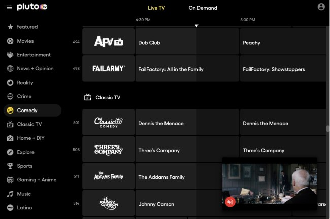 Guide des chaînes Pluto TV Live TV