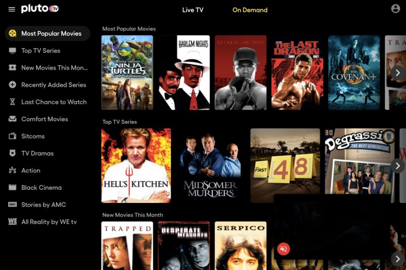 Pluto TV on demand options for free online movies