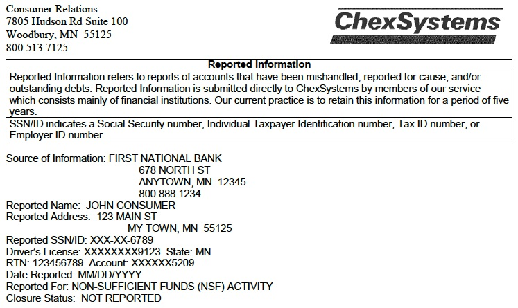 Here's a sample ChexSystems report for someone with an overdraft problem.