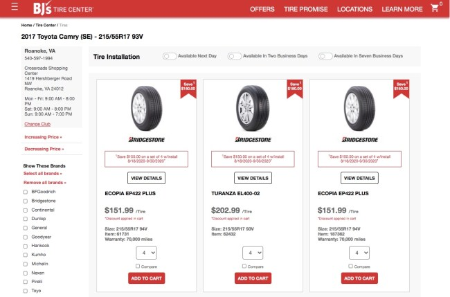 Bj's Tire Center Results Page showing available tires
