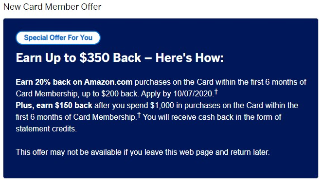 American Express offers cash back rewards through Amazon.com with its welcome bonus.