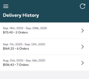 Shipt Shopper app delivery history