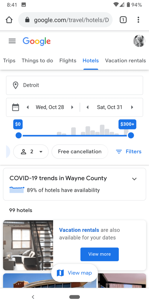 Google Travel Hotel search with free cancellation feature