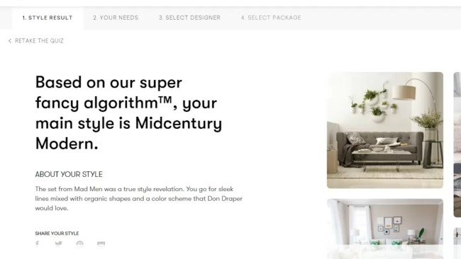 My Havenly style quiz result is Midcentury Modern.
