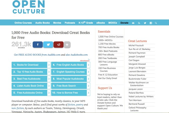 Open Culture free audiobooks page