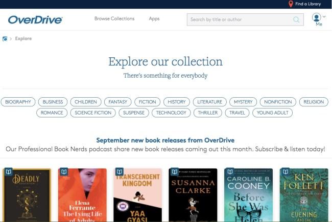 OverDrive website homepage