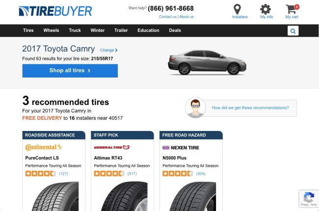 TireBuyer results showing recommended tires, prices, warranties and more