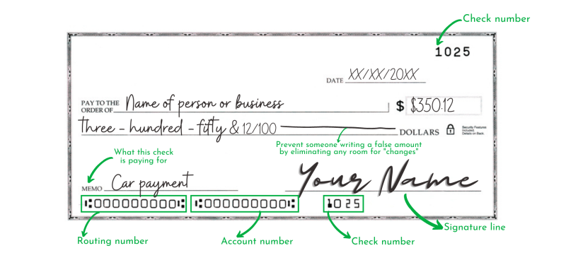 Here's how to write a check from your checkbook.