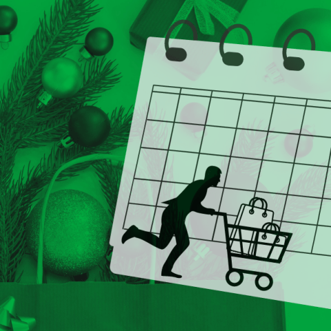 A silhouette of a man hurriedly pushing a shopping cart full of Christmas gifts with a calendar counting down the best days to shop for good deals on Christmas shopping.