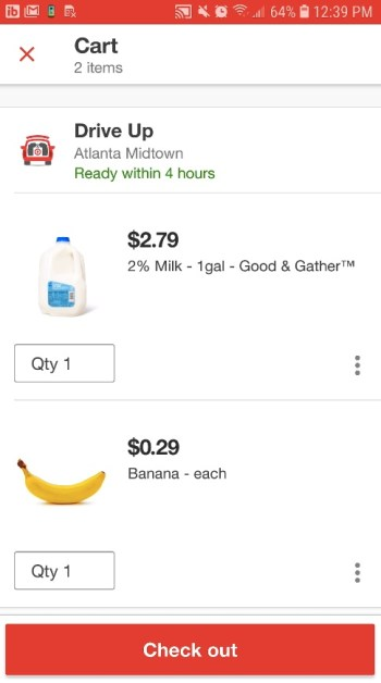 Checking out with a Target Drive Up order in the Target app